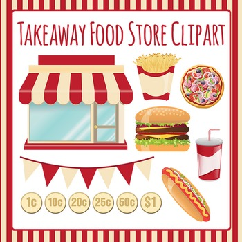 Takeaway Food Store Clip Art Set for Commercial Use