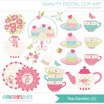 Clipart - Tea Garden (1)  / Rose Tea Set