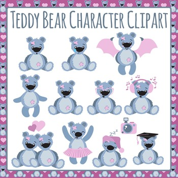 Teddy Bear Character Emotions Clip Art Pack for Commercial Use