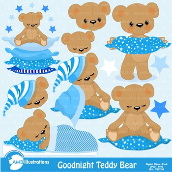 Clipart, Teddy Bear Clip Art in Baby Blue, Nursery, Slumbe