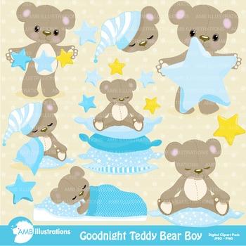 Clipart, Teddy Bear Clip Art in Baby Blue, Nursery, Slumber Party, AMB-980