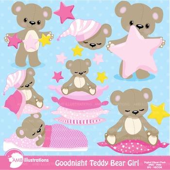Clipart, Teddy Bear Clip Art in Pink, Nursery, Slumber Party, AMB-981