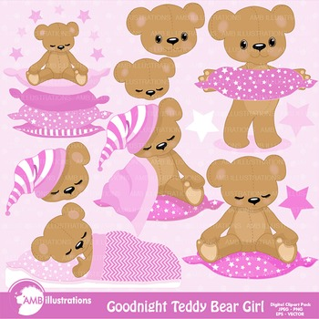 Clipart, Teddy Bear Clip Art in Pink, Nursery, Slumber Party, AMB-983