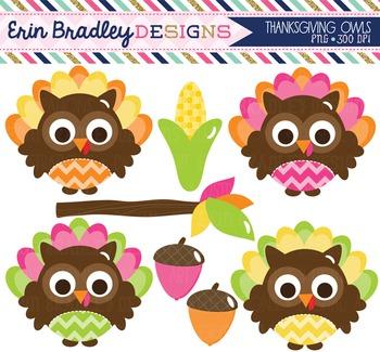 Clipart - Thanksgiving Owls Digital Holiday Clip Art Graphics