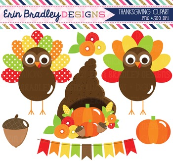 Clipart Thanksgiving Turkeys Bunting Pumpkin and Cornucopi