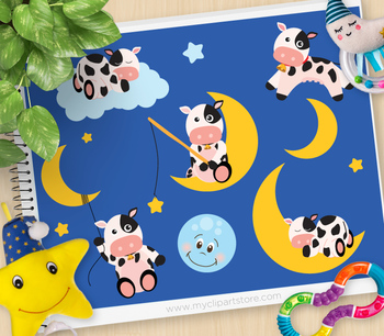 Clipart - The Cow and The Moon / Nursery / Baby