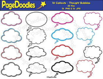 Clipart, Thought Bubbles, for TPT Sellers - High Quality Vector Graphics