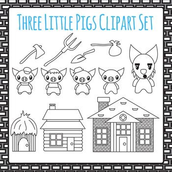 Three Little Pigs Clip Art Pack Black and White