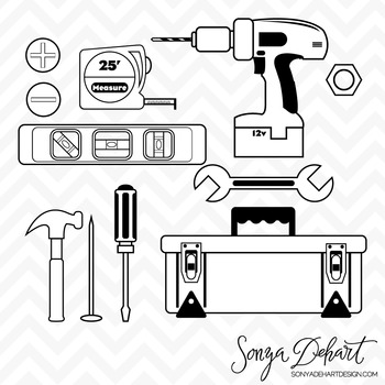 Clipart - Tool Set Black Line Art