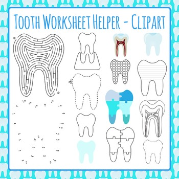 Clipart: Tooth Worksheet Helpers Clip Art Pack for Commercial Use
