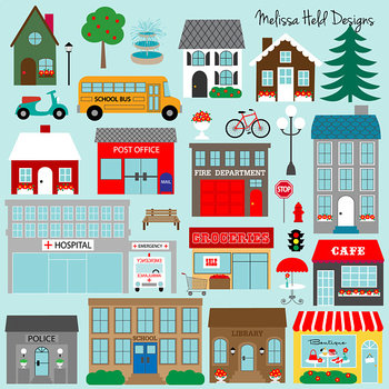 Town Buildings Clipart By Scrapster By Melissa Held