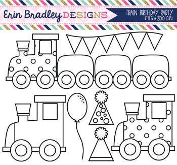 Clipart - Train Party Black and White