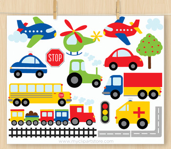 Clipart - Transportation - Trains Planes and Trucks (Primary Colors)