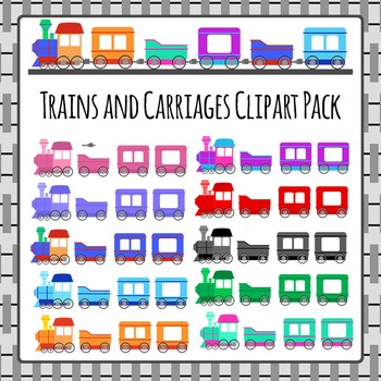 Trains and Carriages Clip Art Pack for Commercial Use