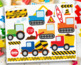 Clipart - Transportation - Construction Vehicles (Primary Colors)