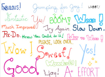 Clipart. Words and phrases for praise and encouragement. Black and colored set.