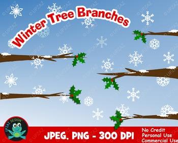 Winter Tree Branches {Upzaz Digital Clipart}
