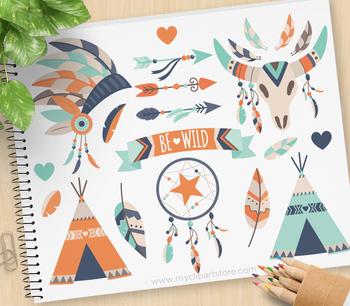 Clipart - Tribal Boho Elements (3) Aztec, Navajo, American Indian (blue orange)