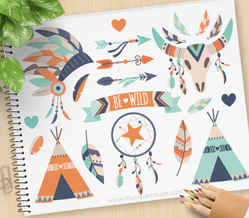 Clipart - Tribal Boho Elements (3) Aztec, Navajo, American