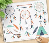 Clipart - Tribal Dream Catchers (3) Aztec, Navajo, American Indian (blue orange)