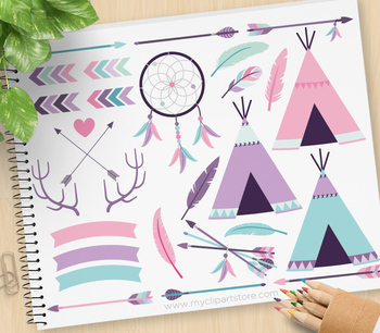 Clipart - Tribal Elements (2) / Aztec / Navajo / American Indian (pink)