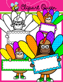 Thanksgiving Clipart: Turkey Kids holding Signs