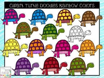 Clipart - Turtle Doodles - Rainbow Colors