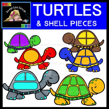 Clipart Turtles And Shell Pieces Tpt