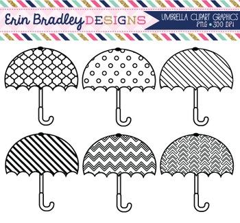 Clipart - Umbrellas Black & White