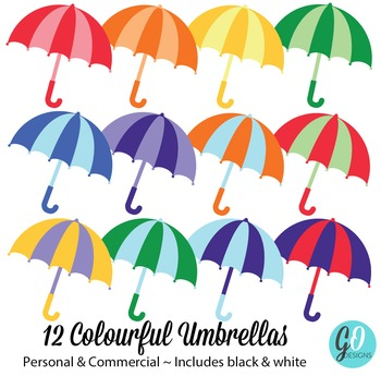 Clipart Umbrellas | Rainbow Umbrellas