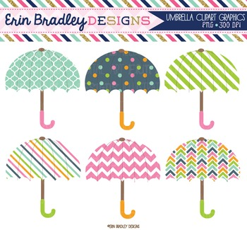 Clipart - Umbrellas Weather Digital Graphics in Pink Green Orange & Blue