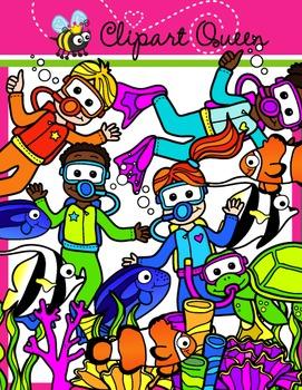 Clipart: Underwater Adventure Kids