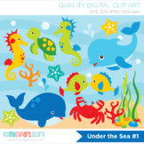 Clipart - Under the sea (#1), surf, ocean, beach - Background Included!