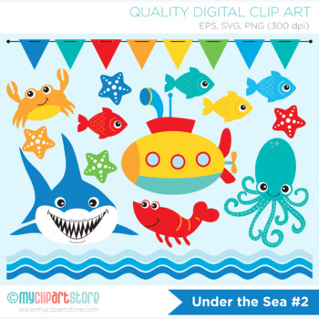 Clipart - Under the sea (#2) / Shark / Surf / Deep Sea