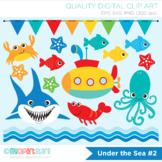 Clipart - Under the sea (#2), Shark, Surf, Deep Sea, Summer, Tropical