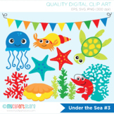 Clipart - Under the sea (#3) / Jelly Fish / Sea Star / Surf / Ocean / Deep Sea