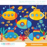 Clipart - Under the sea  / Submarine / U-boat / Surf / Deep Sea Transportation