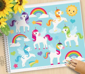 Clipart - Unicorns & Rainbows