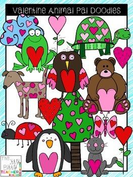 Clipart - Valentine Animal Pals Doodles