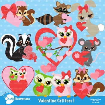 Clipart, Valentine Cliparts, Critters clip art, commercial