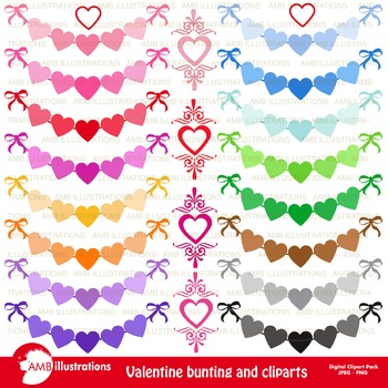 Clipart, Valentine Hearts Banners and Bunting, commercial