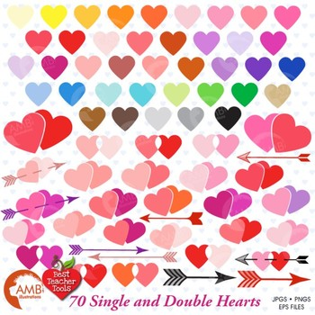 Clipart, Valentine Hearts MEGA Pack clip art, commercial u