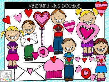 Clipart - Valentine Kids Doodles