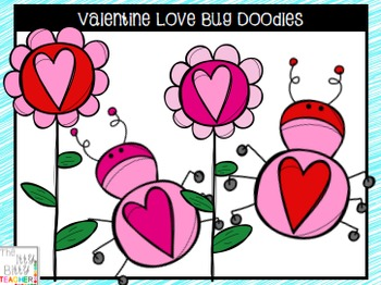 Clipart - Valentine Love Bug Doodles