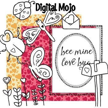 Clipart - Valentine Love Bugs