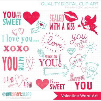 Clipart - Valentine Word Art / Silhouettes / Digital Stamp / Stickers