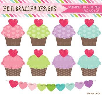 Clipart - Valentines Day Cupcake Graphics
