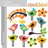 Bird clip art: Cute polkadot bird clipart, Vibrant Afternoon Tweet