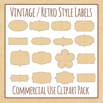 Labels Vintage Clip Art Pack for Commercial Use