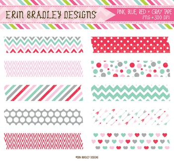 Clipart - Washi Tape Graphics Blue Red Pink Gray